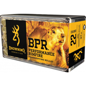 Browning Ammo B195122050 BPR Performance 22 Winchester Magnum Rimfire (WMR) 40 GR Jacketed Hollow Point 50 Bx  20 Cs