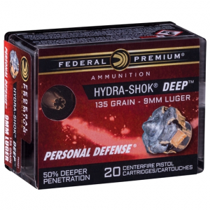 Federal HYDRA-SHOK DEEP 9MM 135GR HP 20/