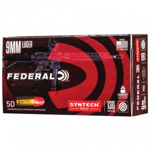 Federal AE9SJPC1 Syntech PCC 9mm Luger 130 GR Total Syntech Jacket Flat Nose 50 Bx/ 10 Cs