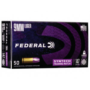 Federal AE9SJ3 Syntech Training Match 9mm Luger 147 GR Total Syntech Jacket Flat Nose 50 Bx/ 10 Cs