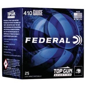 Federal TGS412148 Top Gun Sporting 410 Gauge 2.75 1/2 oz 8 Shot 25 Bx/ 10 Cs in.