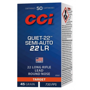 CCI 975CC Target & Plinking Quite-22 22 Long Rifle (LR) 45 GR Lead Round Nose 50 Bx/ 100 Cs