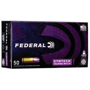 Federal AE40SJ2 Syntech Training Match 40 Smith & Wesson (S&W) 180 GR Total Syntech Jacket Flat Nose 50 Bx/ 10 Cs