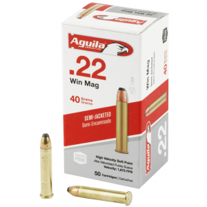 Aguila 1B222401 Silver Eagle 22 Winchester Magnum Rimfire (WMR) 40 GR Jacketed Soft Point 50 Bx| 20 Cs