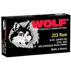 Wolf 22355FMJTINS PolyFormance Rifle 223 Remington|5.56 NATO 55 GR Full Metal Jacket 20 Bx| 25 Cs 500 Total (Military Tin)