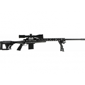 Howa HCRA72507USG HCR Rifle Bolt 6.5 Creedmoor 24 HB MB 10+1 Luth-AR MBA-4 Black|Aluminum Chassis American Flag Grayscale Cerakote Stk Black with Scope in.