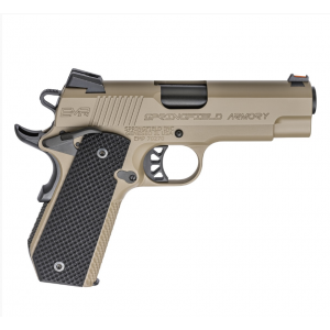 Springfield Armory PI9229F 1911 EMP Conceal Carry 9mm Luger Single 4 9+1 Black G10 Grip Flat Dark Earth Hardcoat Anodized Aluminum Frame Flat Dark Earth Stainless Steel Slide in.