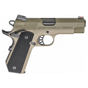 Springfield Armory PI9229GF 1911 EMP Conceal Carry 9mm Luger Single 4 9+1 Black G10 Grip Flat Dark Earth Hardcoat Anodized Aluminum Frame OD Green Stainless Steel Slide in.