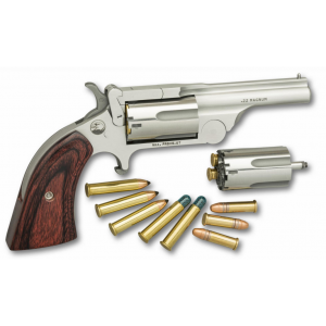 NAA 22MCBTII250 Ranger II Revolver Single 22 Long Rifle/22 Winchester Magnum Rimfire (WMR) 1.63 5 Rd Rosewood Grip Chrome in.