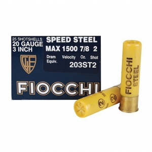 Fiocchi Ammo 203ST2 Speed Steel 20 Gauge 3 in. , 7|8 oz, Number 2 Non-Toxic Steel Shot, Per 25
