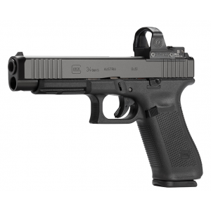 Glock PA343S101MOS G34 Gen 5 MOS FS 9mm Luger Double 5.31 10+1 Black Polymer Grip|Frame Black nDLC Slide in.