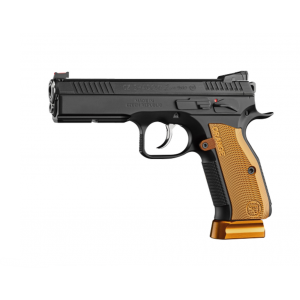 CZ 91764 SP-01 Shadow 9mm Luger Single|Double 4.6 17+1 Orange Aluminum Grip Black Steel Frame Black Slide in.