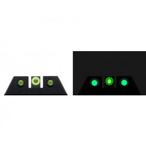 Night Fision Glow Dome compatible w/ Glock 20-2129-303640-41 Square Front/U-Notch Rear Green w/Yellow Outline Green Black