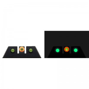 Night Fision Glow Dome compatible w/ Glock 42 43 43X Square Front/U-Notch Rear Green w/Orange Outline Green Black