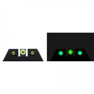 Night Fision Glow Dome S&W M&PSD9 VESD40 VE Square Front/U-Notch Rear Green w/Yellow Outline Green Black