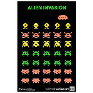 ACTION TARGET INC GS-ALIENIN-100 Action Alien Invasion Hanging Paper 23in. x 35in. Aliens Black/Green/Peach/Yellow 100