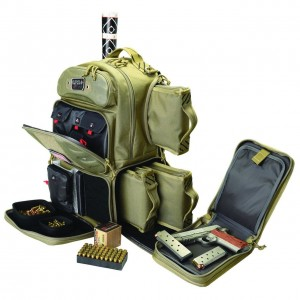 G Outdoors Tactical Range Backpack-4 handguns-Tan