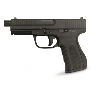 FMK G9C1EP Elite Plus Single 9mm Luger 4.5 TB 14+1 3-Dot Black Polymer Grip|Frame Grip Black Carbon Steel in.