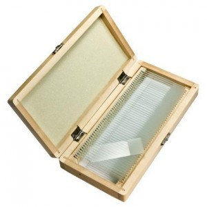 Barska 50 Blank Microscope Slides with Wooden Case