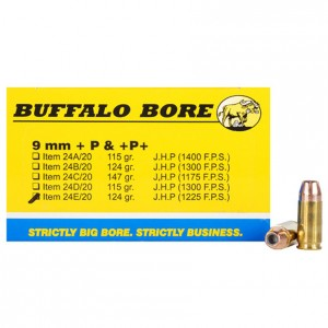 Buffalo Bore +P 9mm Luger 20rd Ammo