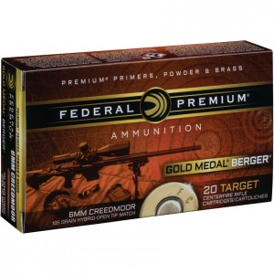Federal Gold Medal Berger 6mm Creedmoor 20rd Ammo