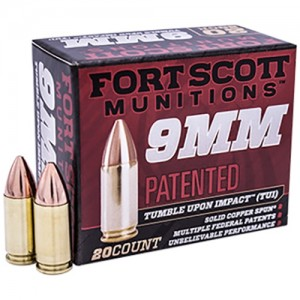 Fort Scott Tumble Upon Impact 9mm Luger 20rd Ammo