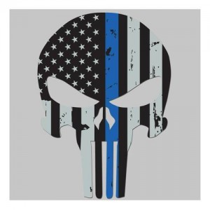 United States Tactical Thin Blue Line Skull Sticker
