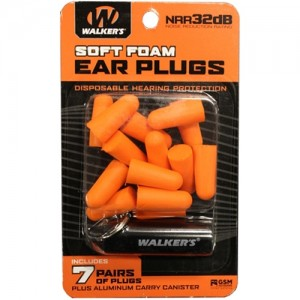Walker's 7 Pairs Foam Plugs w/ Black Aluminum Carry Canister