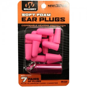 Walker's 7 Pairs Foam Plugs w/ Pink Aluminum Carry Canister