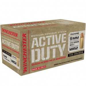 Winchester Active Duty 9mm Luger 100rd Ammo