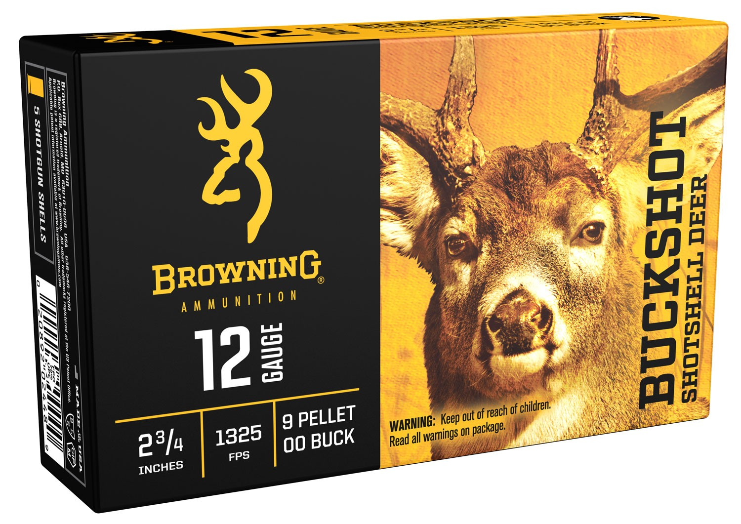 Browning Ammo B193111220 Buckshot 12 Gauge 2.75in. Buckshot 9 Pellets 00 Buck Shot 5 Bx/ 50 Cs