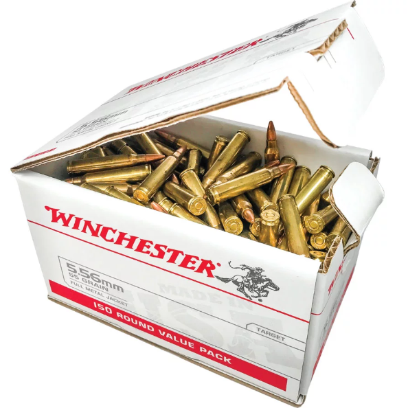 Winchester Ammo USA556L1 USA Value Pack 5.56 NATO 55 GR Full Metal Jacket 150 Bx| 4 Cs