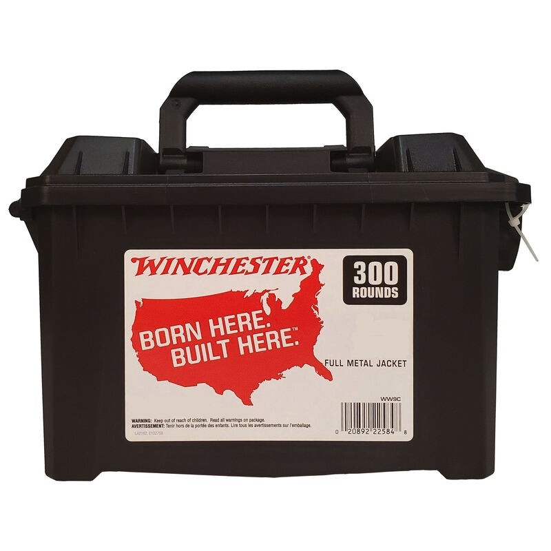 Winchester Ammo WW38C Winchester Handgun Ammo Can 38 Special 130 GR Full Metal Jacket 300 Bx/ 2 Cs 600 Total