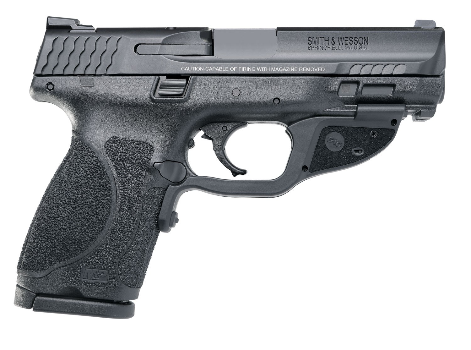 Smith & Wesson 12413 M&P 9 M2.0 Compact Crimson Trace Laserguard 9mm Luger Double 4 15+1 NMS Black Interchangeable Backstrap Grip Black Armornite Stainless Steel in.