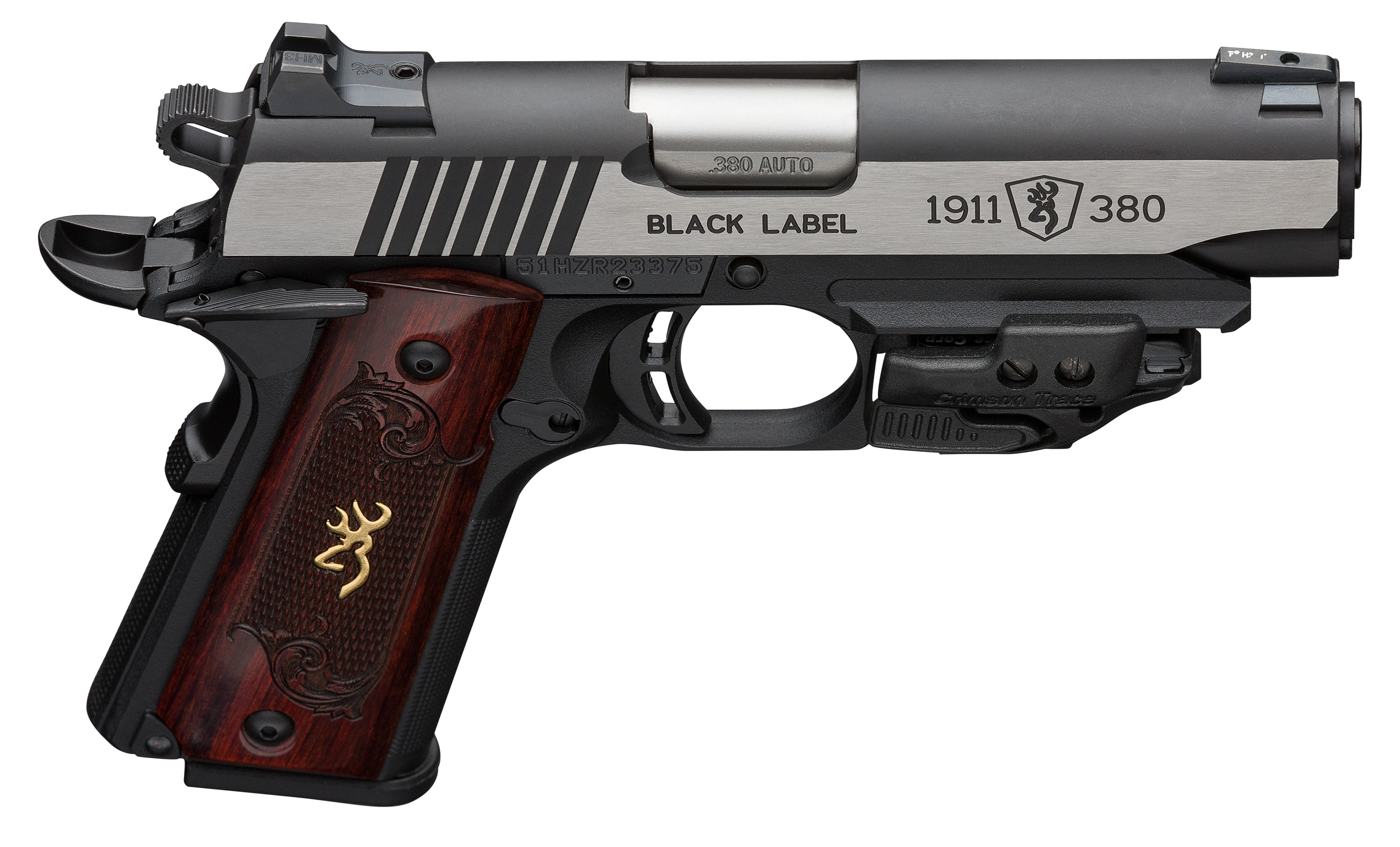 Browning 051953492 1911-380 Black Label Medallion 380 ACP 3.63in. 8+1 Black Stainless Steel Rosewood w/Gold Buckmark Inlay Grip