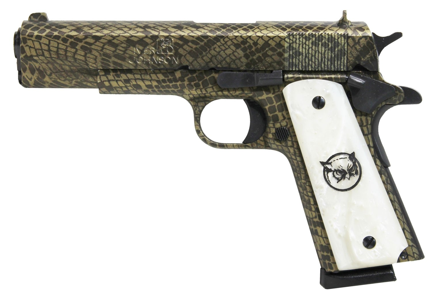 """Iver Johnson Arms 1911A1WATERMOCCASIN 1911 A1 Government 70 Series 45 ACP Single 5"""" 8+1 White Synthetic Pearl Grip Water Moccasin Snakeskin Steel Slide"""