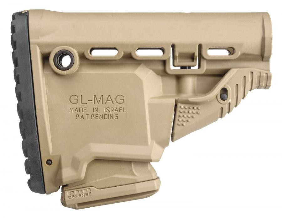 FAB DEFENSE (USIQ) FX-GLMAGT GL-Mag M4 Rifle Survival Buttstock w/ Built-In Mag Carrier Polymer FDE