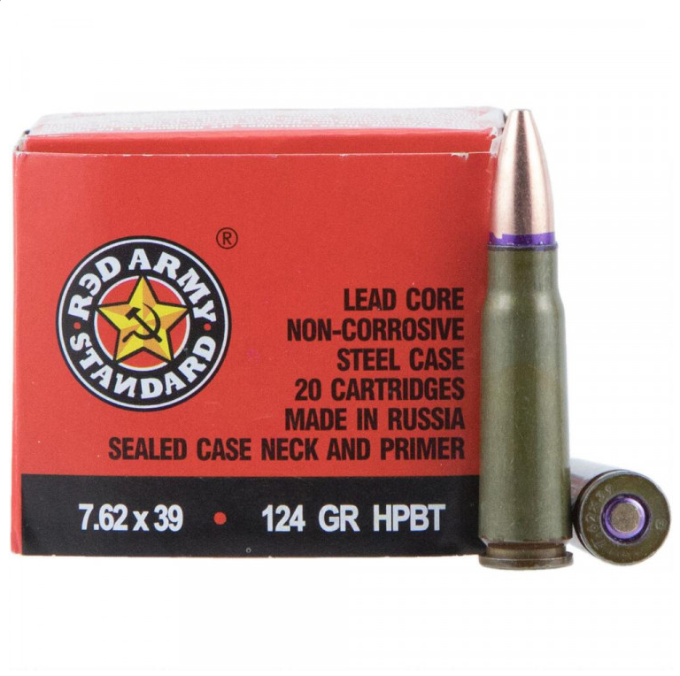 Red Army Standard AM2458 Red Army Standard  7.62X39mm 124 GR Hollow Point Boat Tail 20 Bx  50 Cs