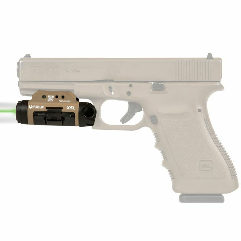 Viridian 9300016 X5L Gen 3 Green Laser with Tactical Light Universal w|Accessory Rail 500 Lumens FDE