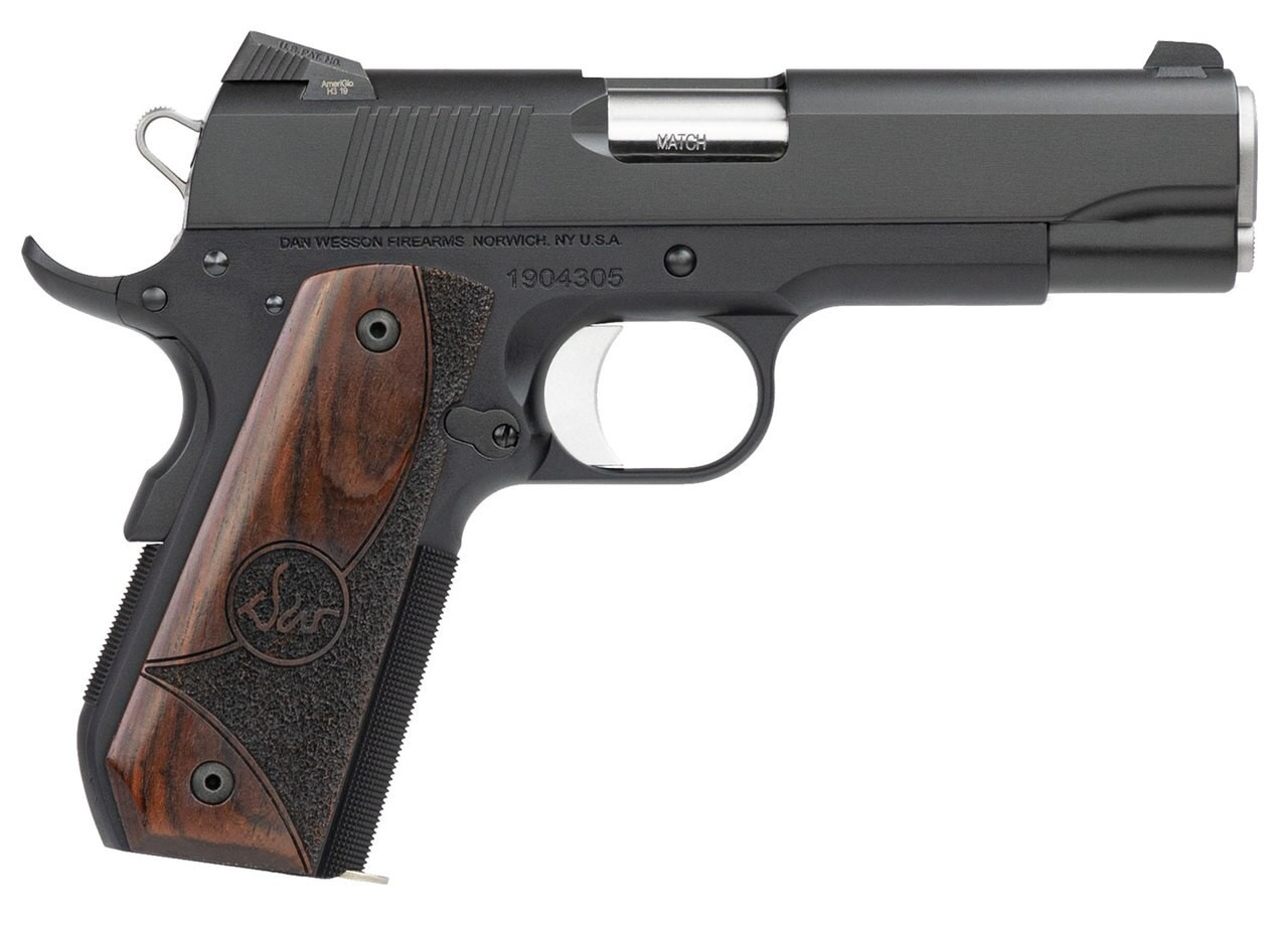Dan Wesson 01828 Guardian 9mm Luger 4.25in. 9+1 Black Duty Finish Stainless Steel Wood Grip