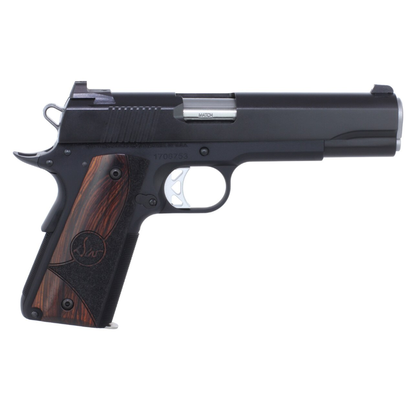 Dan Wesson 01833 1911 Vigil Single 9mm Luger 5 9+1 Wood Grip Black Stainless Steel in.