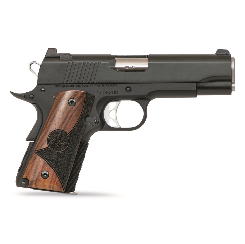 Dan Wesson 01837 1911 Vigil CCO Single 9mm Luger 4.25 8+1 Cocobolo Shadow Grip Black Stainless Steel in.