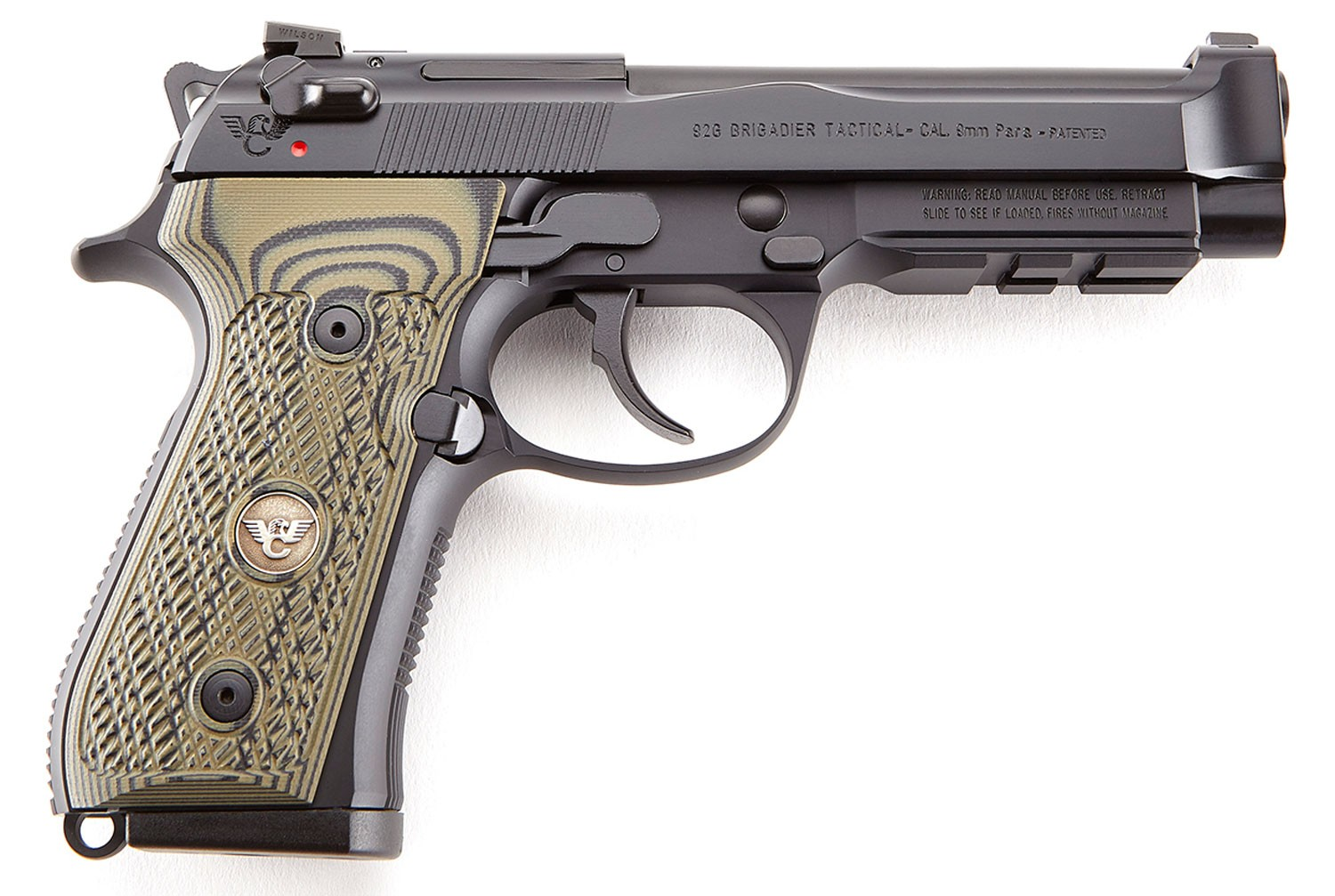 Wilson Combat 92G Brigadier Tactical 9mm Luger 4.70in. 15+1 Black Dirty Olive G10 Grip