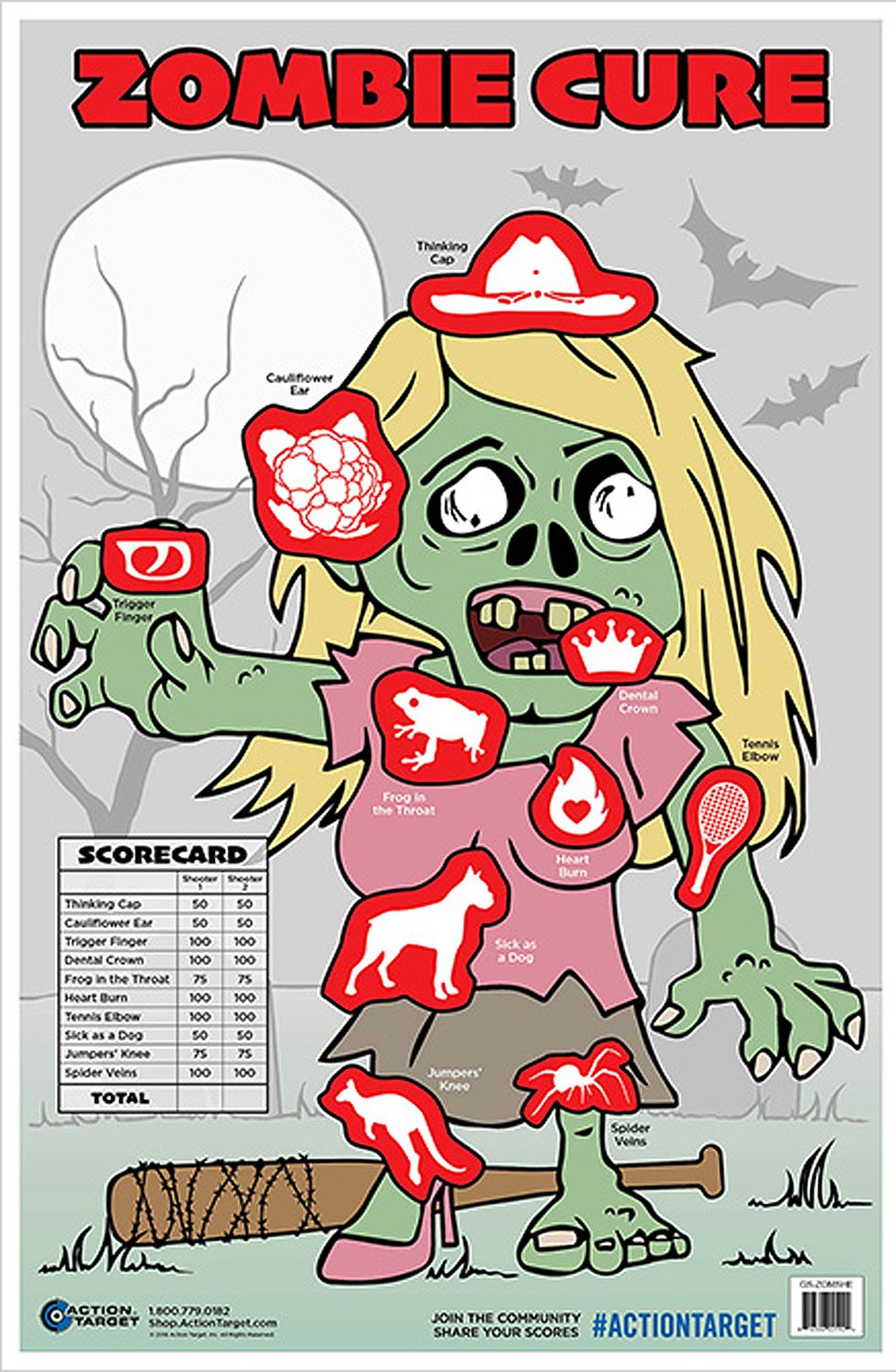 ACTION TARGET INC GS-ZOMSHE-100 Action Zombie Girl Hanging Paper 23in. x 35in. Zombie Multi 100