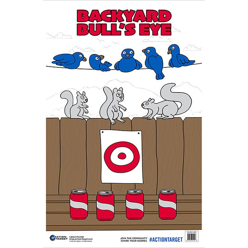ACTION TARGET INC GS-BKYARD-100 Action Back Yard Bull's-Eye Hanging Paper 23in. x 35in. Animals/Cans/Target Multi 100
