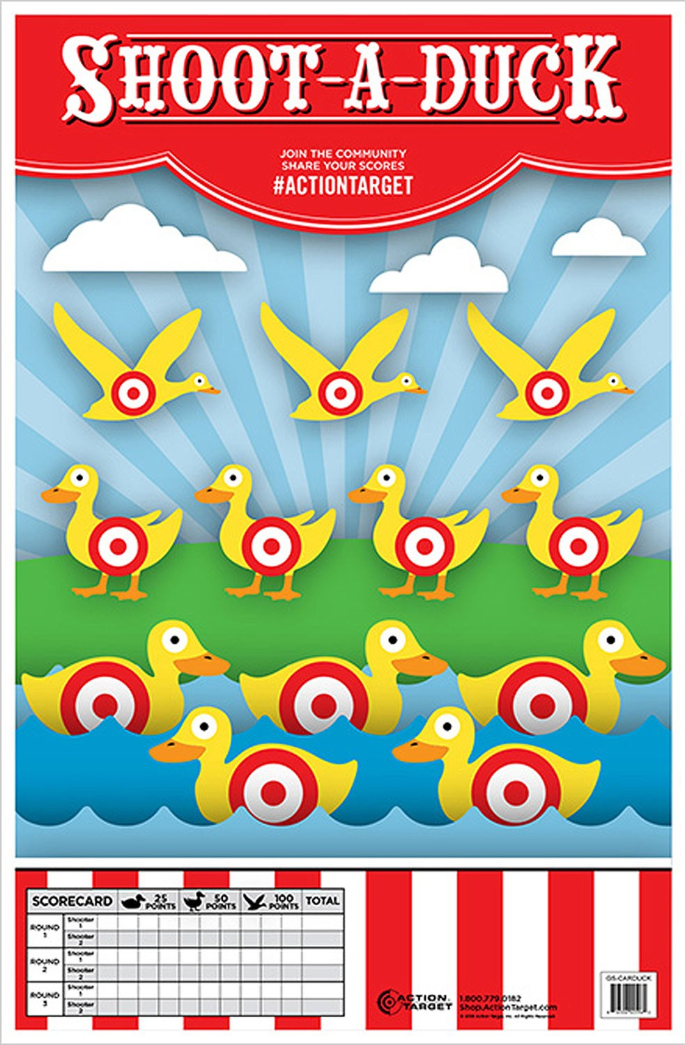 ACTION TARGET INC GS-CARDUCK-100 Action Shoot-A-Duck Hanging Paper 23in. x 35in. Ducks Multi 100