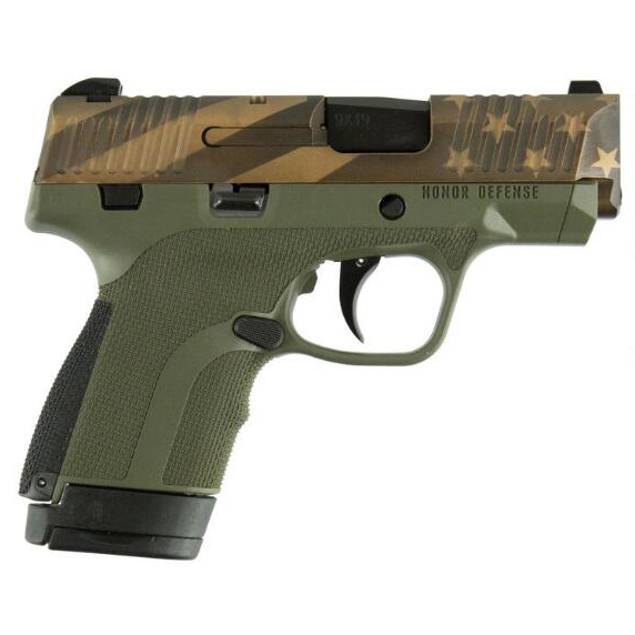 Honor Defense HG9SCFLGOD Honor Guard Sub-Compact 9mm Luger Double 3.2 7+1|8+1 Black Interchangeable Backstrap Grip OD Green Polymer Frame American Flag Earth Tone Slide in.