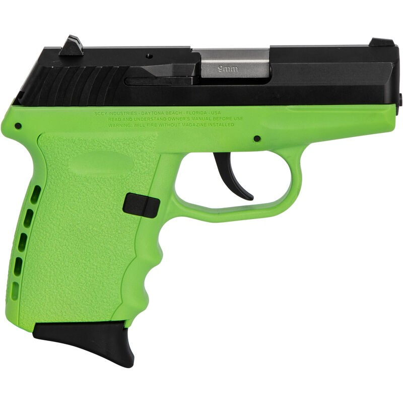 SCCY Industries CPX2CBLG CPX-2 Carbon 9mm Luger Double 3.10in. 10+1 Lime Polymer Grip Black SS Slide
