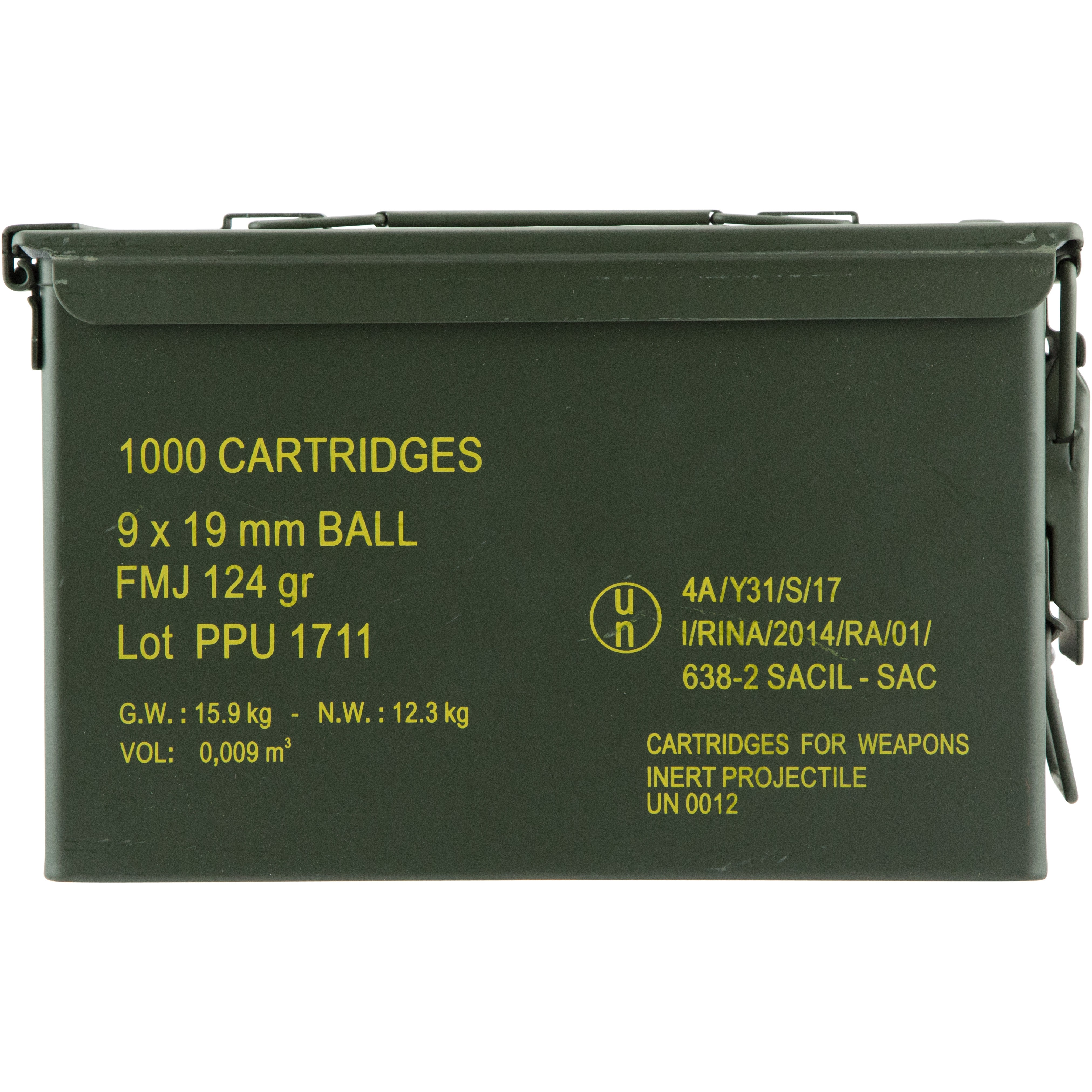 PPU Mil-Spec 9mm Luger Ball 1000rd Ammo