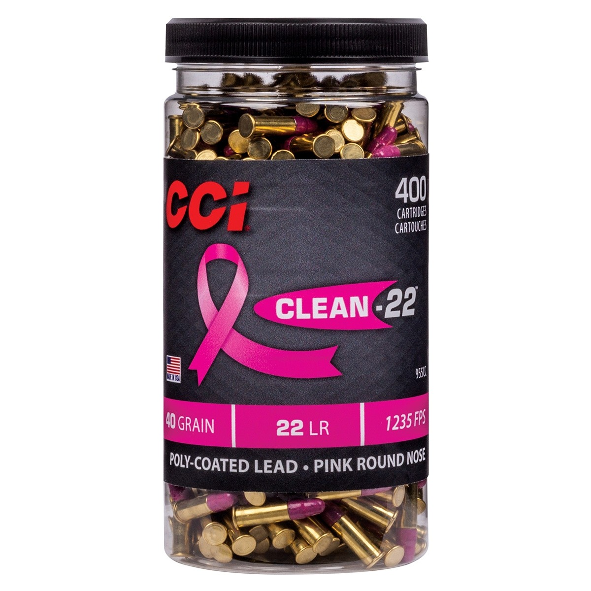 CCI Clean-22 Pink 22 Long Rifle 400rd Bottle Ammo